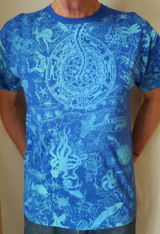 Wildlife Blue Hand Printed T Shirt