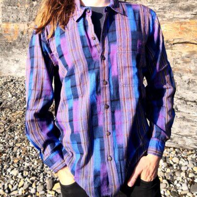 Hand woven shirt blue violet