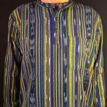 Hand woven short sleeve shirt blue stripe 2
