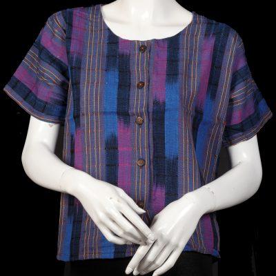 gutemalan blouse Purple And Blue Stripe