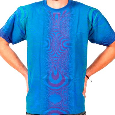 Kaos Blue Hand printed T Shirt