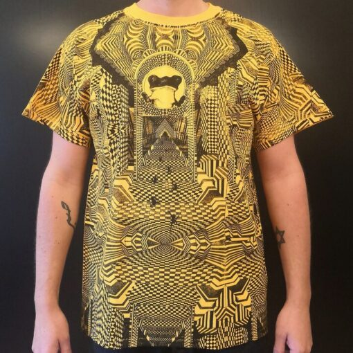 Hand Screen Printed T Shirt New Frog 3D Yellow
