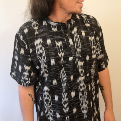 Hand woven shirt short sleeve new black