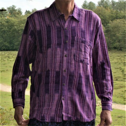 Hand woven shirt purple