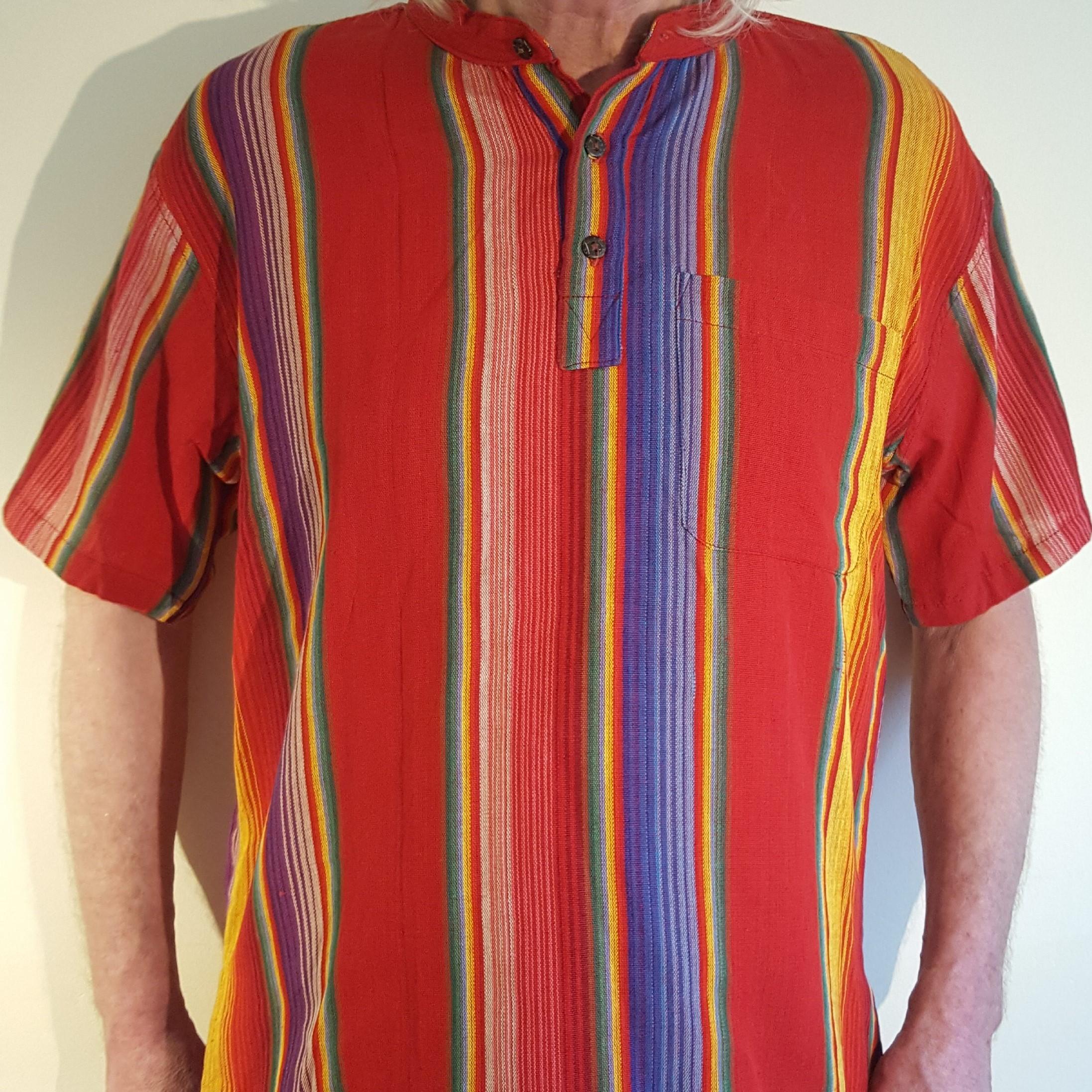 Hand woven short sleeve shirt red