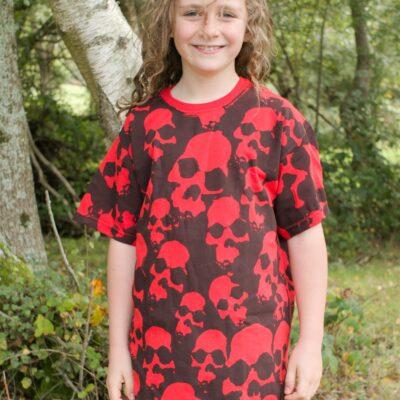 kids skulls red