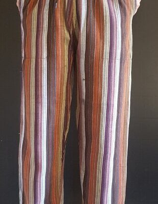 Hand Woven Trousers Brown Stripe