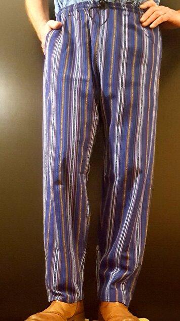 Hand Woven Trousers Dark Blue Stripe