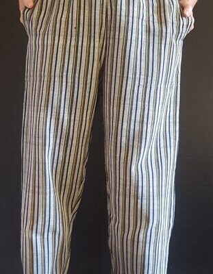 Hand Woven Trousers Grey Green Stripe