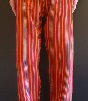 Hand Woven Trousers Orange Red Stripe