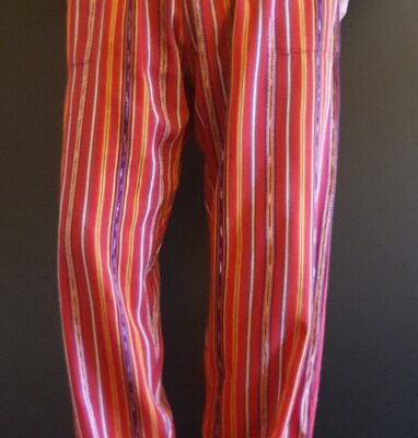 Hand Woven Trousers Red Stripe