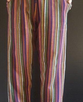 Hand Woven Trousers Salmon Stripe