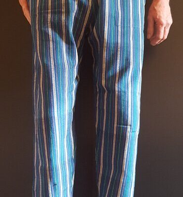 Hand Woven Trousers Teal Stripe