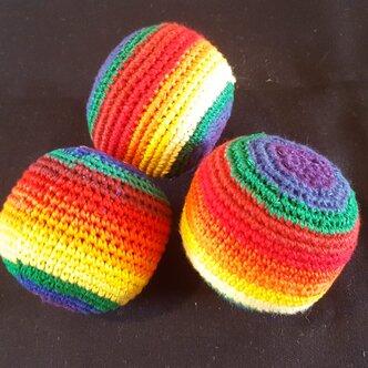 juggling balls bright rainbow