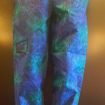Geo Fish Blue Green with Black Print
